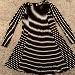 Black and White Striped Maternity Dress